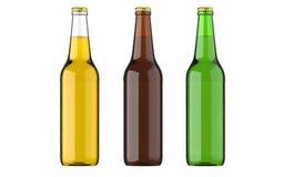 Amarillo en botella de la cerveza, verde y browncolors o bebida o bebidas carbonatadas El estudio 3D rinde, aislado en blanco Imagenes de archivo