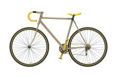 Amarillo fijo de la bicicleta de la ciudad del engranaje Foto de archivo libre de regalías