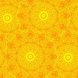 Amarillo inconsútil del sol de la mandala Foto de archivo