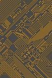 Amarillo industrial de la tarjeta de circuitos - fondo gris imagen de archivo libre de regalías