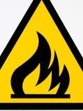 Amarillo inflamable del letrero Foto de archivo libre de regalías