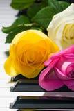 Amarillo, rosado, rosas de té en piano blanco y negro Fotografía de archivo libre de regalías