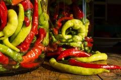 Amarillo sacudida tradicional, verde, rojo, pimientos picantes Imágenes de archivo libres de regalías