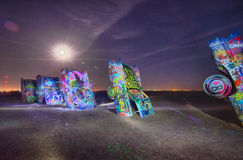 AMARILLO, TEXAS - April 2015: Famous art installation Cadillac R Stock Photography
