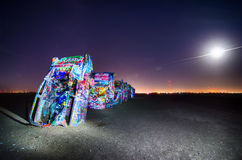AMARILLO, TEXAS - April 2015: Famous art installation Cadillac R Stock Photography