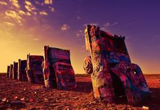 Cadillac Ranch in Amarillo, Texas. Amarillo, Texas - July 21, 2017 : Cadillac Ranch in Amarillo. Cadillac Ranch is a public art installation of old car wrecks Royalty Free Stock Images