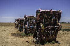 Cadillac Ranch, Amarillo Texas. AMARILLO, TEXAS - JUNE 29, 2007: Famous Cadillac Ranch, public art and sculpture installation created by Chip Lord, Hudson Royalty Free Stock Images