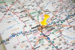Amarillo, Texas. A map of Amarillo, Texas marked with a push pin stock image