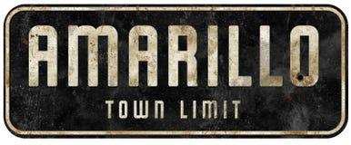 Amarillo Texas Street Sign Vintage Town Grens stock afbeeldingen