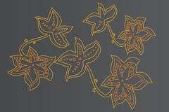 Amarillo y negro del ornamento floral Imagen de archivo