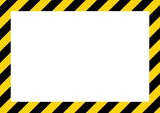 Amarillo y rayas negras en la señal de peligro diagonal, rectangular, símbolo, ejemplo ilustración del vector