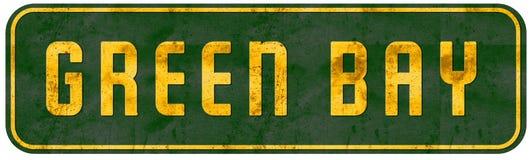 Amarillo y verde de la placa de calle de Wisconsin del Green Bay foto de archivo libre de regalías