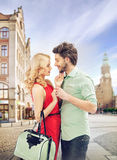 Amarous couple hugging in the old town Stock Photos