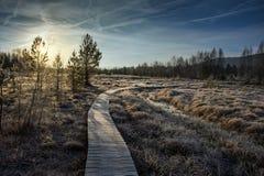 Amarre la pista en invierno Foto de archivo libre de regalías