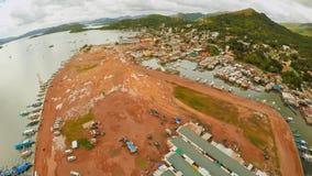 Amarrez à quai avec des bateaux dans la ville de Coron PALAWAN philippines images stock