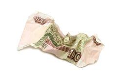 Amarrotado cem cédulas do rublo Fotografia de Stock Royalty Free