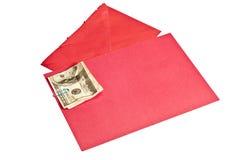 Amarrotado cem cartões de Bill Inside Blank Red Greeting do dólar imagem de stock