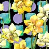 Amaryllis jaune Modèle sans couture de fond Texture d'impression de papier peint de tissu Image stock
