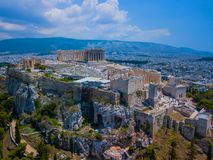 Amasing aerial view to The Parthenon Temple at the Acropolis of Athens, Greece royalty free stock photography