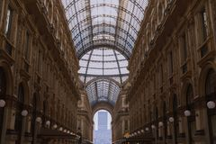 Amasing details inside the Galleria Vittorio Emanuele II, one of the world s oldest shopping malls in Europe. stock photography