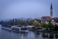 AmaSonata river cruise boat on a foggy morning. Early morning riverboat docked at Vilshofen, Germany Stock Images