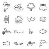 Amasonrainforest- & djurlivsymboler gör linjen vektorillustrationuppsättning tunnare stock illustrationer