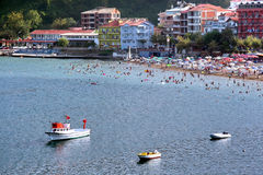 Amasra beach at Bartin in Turkey. Crowded beach at Amasra. Blacksea - Turkey Royalty Free Stock Photography
