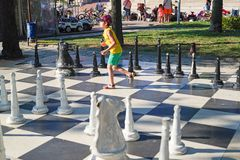Outdoor chess activity on a park royalty free stock photos