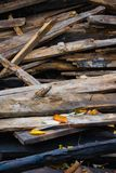 Amass of old wooden planks. For reconstruction royalty free stock photo