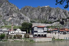 Amasya och Yesilırmak flod i Turkiet Royaltyfria Bilder