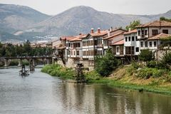 Free Amasya`s Old Traditional Houses Near River Royalty Free Stock Photos - 139629858