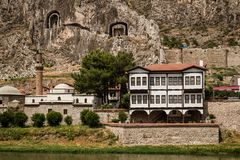 Free Amasya`s Old Traditional Houses Near River Stock Image - 139630281