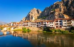 Amasya, Turkey. Traditional ottoman houses reflecting in the river, Amasya, Turkey stock photo