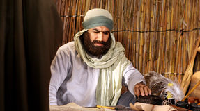 Amateur actor. Egyptian amateur actor playing a role in an religious film Stock Photography