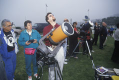 Amateur astronomers. Viewing a solar eclipse at Griffith Park Observatory, Los Angeles, CA stock image