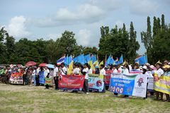 Amateur athletes from different groups in Pluak Daeng participated in the activity. Health promotion And to resist the drug of people in Pluakdaeng district Royalty Free Stock Image