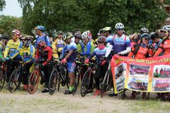 Amateur athletes from different groups in Pluak Daeng participated in the activity. Health promotion And to resist the drug of people in Pluakdaeng district stock images