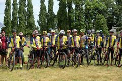 Amateur athletes from different groups in Pluak Daeng participated in the activity. Health promotion And to resist the drug of people in Pluakdaeng district stock photo