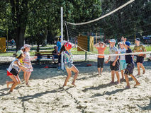 Amateur beach volleyball competition in the children's recreation camp in Anapa in the Krasnodar region of Russia. In the Black Sea there are many camps which stock image