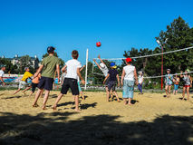 Amateur beach volleyball competition in the children's recreation camp in Anapa in the Krasnodar region of Russia. royalty free stock images