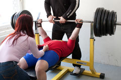 Amateur bench press championship. PECS - JANUARY 29: Unknown man participates in Amateur bench press championship in Professors GYM January 29, 2011 in Pecs Stock Photo