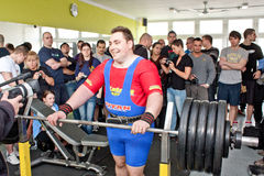 Amateur bench press championship. PECS - JANUARY 29: Unknown man participates in Amateur bench press championship in Professors GYM January 29, 2011 in Pecs Stock Photography