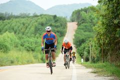 Amateur bike athletes make the most of their efforts in the Bicycle race Charity Trip. `Nhong Yai Country Road, please ask` on 2018/06/24 at Nhong Yai,Chonburi royalty free stock photos