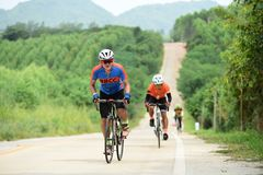 Amateur bike athletes make the most of their efforts in the Bicycle race Charity Trip. `Nhong Yai Country Road, please ask` on 2018/06/24 at Nhong Yai,Chonburi stock photo