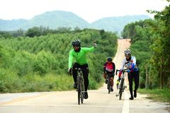 Amateur bike athletes make the most of their efforts in the Bicycle race Charity Trip. `Nhong Yai Country Road, please ask` on 2018/06/24 at Nhong Yai,Chonburi royalty free stock images