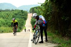 Amateur bike athletes make the most of their efforts in the Bicycle race Charity Trip. `Nhong Yai Country Road, please ask` on 2018/06/24 at Nhong Yai,Chonburi stock images