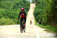 Amateur bike athletes make the most of their efforts in the Bicycle race Charity Trip. `Nhong Yai Country Road, please ask` on 2018/06/24 at Nhong Yai,Chonburi royalty free stock photography