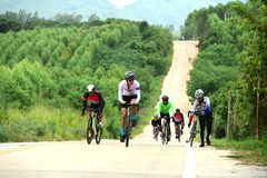 Amateur bike athletes make the most of their efforts in the Bicycle race Charity Trip. `Nhong Yai Country Road, please ask` on 2018/06/24 at Nhong Yai,Chonburi royalty free stock photo