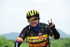 Amateur bike athletes make the most of their efforts in the Bicycle race Charity Trip. `Nhong Yai Country Road, please ask` on 2018/06/24 at Nhong Yai,Chonburi stock image