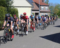 Amateur Bike Race. AALST, BELGIUM MAY 5 2016: Amateur riders from various cycle clubs compete in a bike race through the streets of Aalst, in East Flanders stock photography